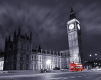 Big Ben and red double decker bus. Big Ben and the Houses of Parliament with a red double decker bus Royalty Free Stock Photo