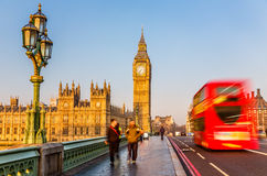 Big Ben and red double-decker bus, London Stock Images