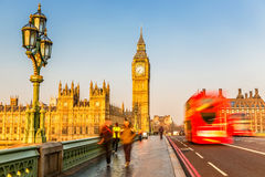 Big Ben and red double-decker bus, London Stock Image