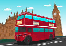 Big Ben with red double-decker bus in London, UK Stock Images