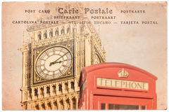 Big Ben and a red english phone booth in London, UK, collage on sepia vintage postcard background, word postcard in severa. Big Ben and a red english phone booth Stock Photos