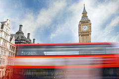 Big Ben and Red London Bus Stock Images