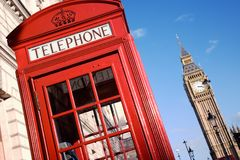 Big Ben and Red Phone Booth Stock Photography