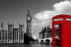 Big Ben with red phone booth in London, England Royalty Free Stock Photos