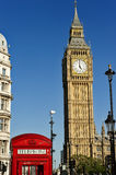 Big Ben and Red Phone box, London UK Royalty Free Stock Photography