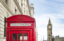 Big ben and red phone cabine Stock Photos