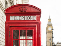 Big ben and red phone cabine Royalty Free Stock Images