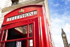 Big ben and red phone cabine stock images