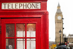 Big ben and red phone cabine Royalty Free Stock Image