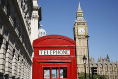 Big Ben and Red Telephone Booth Royalty Free Stock Photography