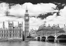 Big Ben and the River Thames Stock Photos