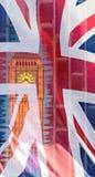 Big Ben s'est mélangé avec l'amende britannique Art Photography de Londres de drapeau Image libre de droits