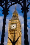 Big Ben and security gates. Big Ben framed by metal security gates in Westminster, London Stock Photography