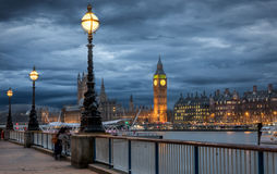 Big Ben seen from Southbank on a cloudy winter evening Royalty Free Stock Photo