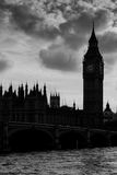 Big Ben silhouette, black and white. Big Ben and Houses of Parliament Silhouette, London, UK Royalty Free Stock Photo