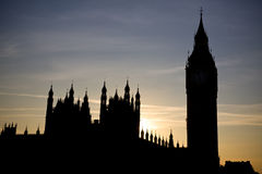 Big Ben - silhouette of Westminstrer at sunset Royalty Free Stock Photos