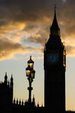 Big Ben silhoutte sunset Stock Images