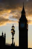 Big Ben silhouttesolnedgång Arkivbilder