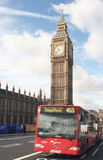 Big ben and single decker. Big ben and a london bus with slight motion blur Royalty Free Stock Photography