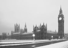 Big Ben Snow Scene Lodon Stock Image