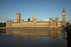 Big Ben from south bank. Big Ben in London taken from across the river with a blue sky Stock Photo