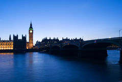 Big ben stopped at dusk. Very rare picture of big ben stopped with the clock at 12h, the clock stop very few times since 1858 Stock Photos