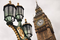 Big Ben and street lamp Stock Photos