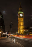 Big Ben & The Street Lights. Big Ben is the nickname for the Great Bell of the clock at the north end of the Palace of Westminster in London, and often extended Royalty Free Stock Image