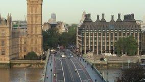 Big ben sunrise over westminster bridge tilt up stock video footage