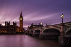 Big Ben at twilight London. Big Ben at sunset from under the gridge royalty free stock photos