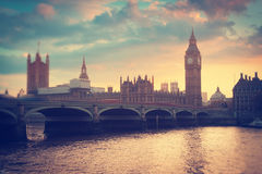 Big Ben. At sunset. View of the River Thames. London, England Stock Image