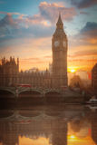 Big Ben. At sunset. View of the River Thames. London, England Royalty Free Stock Image
