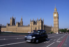 Big ben, taxi, and houses of parliament in london Royalty Free Stock Photography