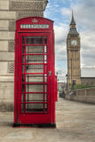 Big Ben and telephone booth. In London, UK Royalty Free Stock Photo