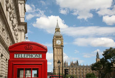Big Ben and Telephone Booth Stock Photo