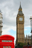 Big ben and a telephone box Stock Photography