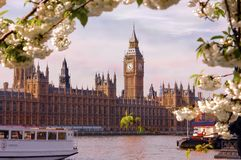 Big ben on the thames Stock Photography