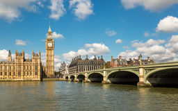 Big Ben, the Thames and Westminster Bridge Stock Images