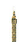 Big Ben. Tower. Architectural sights of England. Landmark of London. Isolated vector illustration on white background Royalty Free Stock Photos