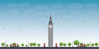 Big Ben Tower and Blue Sky with Clouds Royalty Free Stock Photos