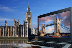 Big Ben with Tower Bridge, London Stock Photography