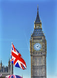 Big Ben Tower British Flag Parliament Westminster London England Stock Images