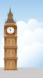 Big Ben tower and clouds illustration. Big Ben tower and clouds, vector illustration Royalty Free Stock Photo