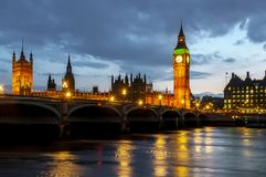 Big Ben tower and Houses of Parliament at night, London, UK royalty free stock image