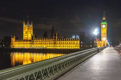 Big Ben tower and Houses of Parliament at night, London, UK stock images
