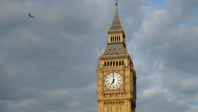 Big Ben tower in London with dramatic sky in background. UHD 4K stock footage