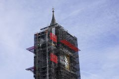 Big Ben Tower in London during construction work. Big Ben Tower in London, England during construction work Royalty Free Stock Photos