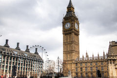 Big Ben tower with the London Eye in the background in London, UK Royalty Free Stock Photography