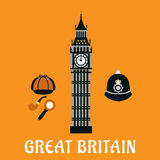 Big Ben tower and other britain objects Royalty Free Stock Image
