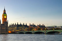 Big Ben Tower and Westminster (London) Royalty Free Stock Photos